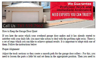 How to Keep the Garage Door Quiet in Revere
